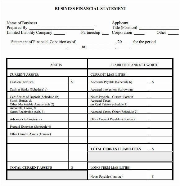Small Business Financial Statement Template 2020 Personal