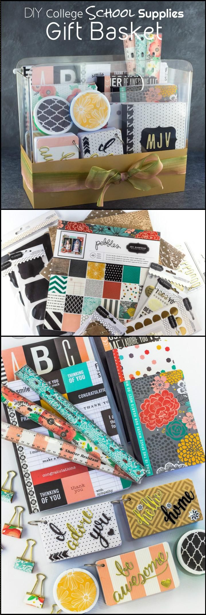 Easy College School Supplies Gift Basket - 70+ Inexpensive DIY Gift Basket Ideas - DIY Gifts - Page 5 of 14 - DIY & Crafts