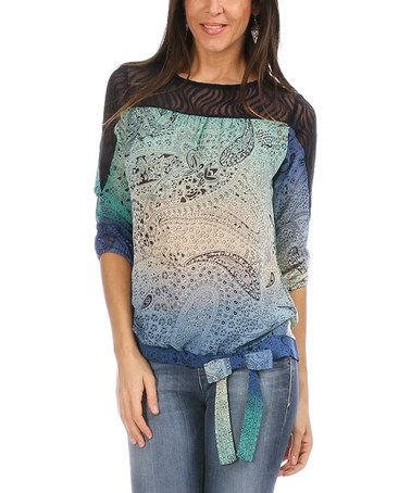 Love this Blue Ombré Paisley Three-Quarter Sleeve Top by Astuces on #zulily! #zulilyfinds