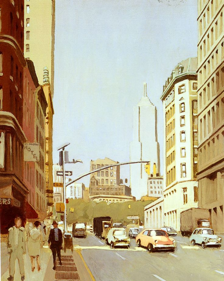 """Fairfield Porter (1907-1975) Broadway South Of Union Square Oil on canvas 1974-1975 76.2 x 96.5 cm (30"""" x 3' 1.99"""") Private collection"""