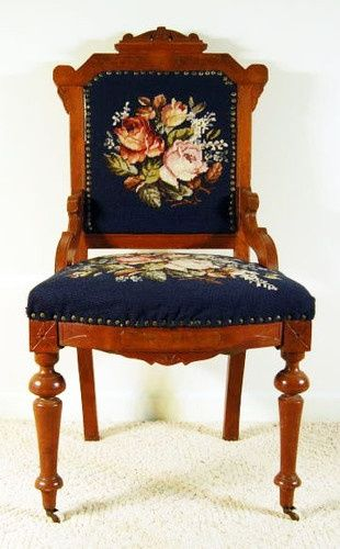 Antique Walnut Victorian Eastlake Lady S Needlepoint Chair