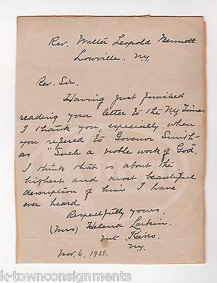 AL SMITH NEW YORK GOVERNOR TAMMANY HALL DEFENSE YOUNG LADY NOTE OF THANKS 1928
