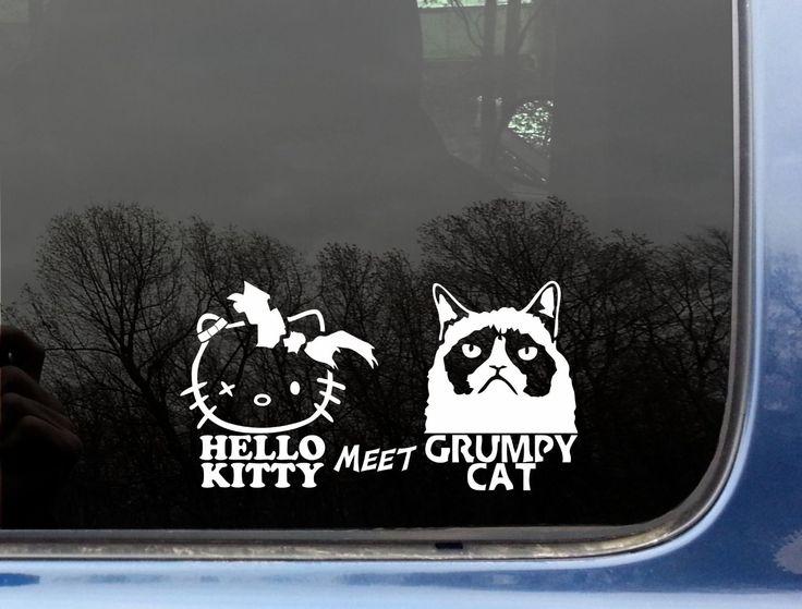 Hello kitty meet grumpy cat 7 x 3 funny die cut vinyl decal sticker for window truck car laptop or ipad