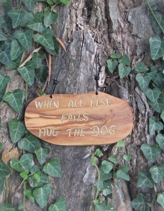 olive wood wall plaque  When All Else Fails Hug by ellenisworkshop, $39.00