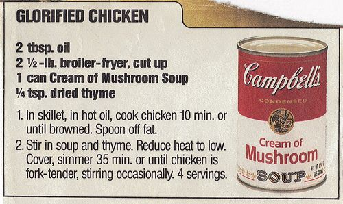 """Vintage """"Glorified Chicken"""" Campbell Soup Recipe"""