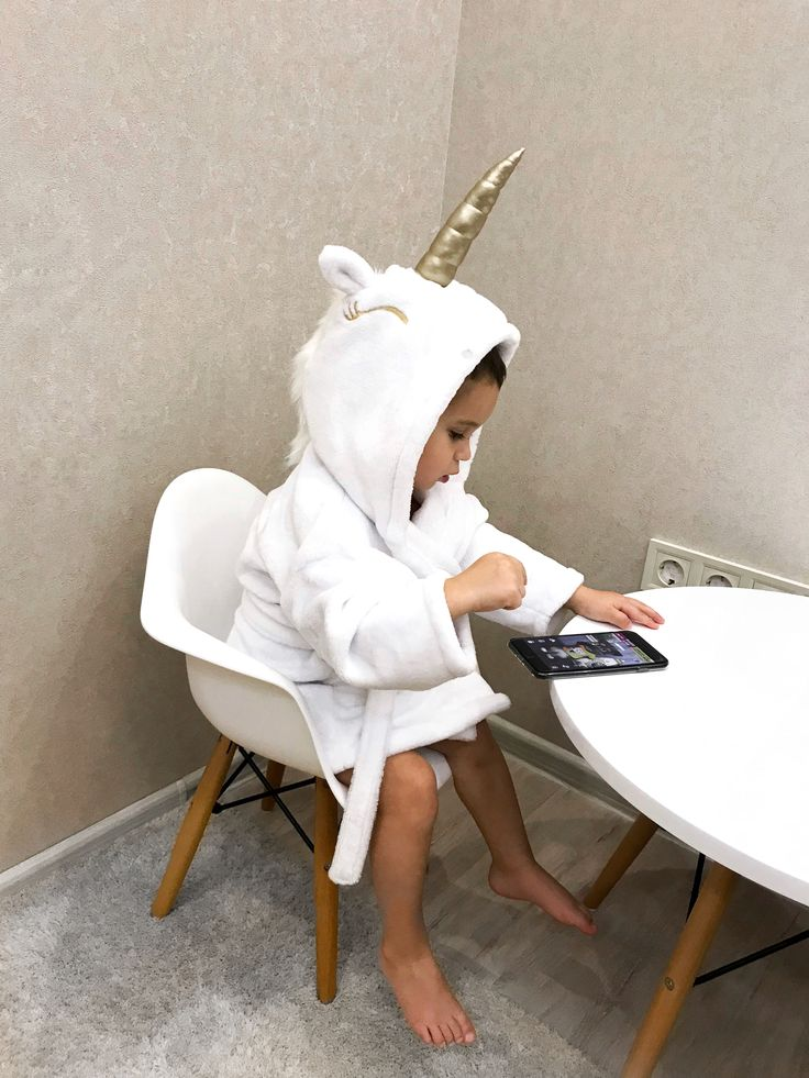 Baby kids unicorn white plush bathrobe