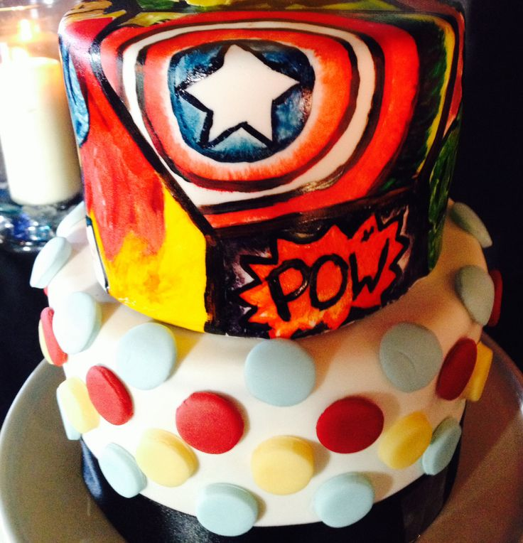 Jess' Hand-painted Comicon themed 21st Birthday Cake - By Nat and Jess