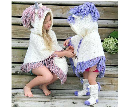 Crochet Pattern for Unicorn Poncho and Crochet Socks – Unicorn Crochet Pattern – Hooded Unicorn Ponc