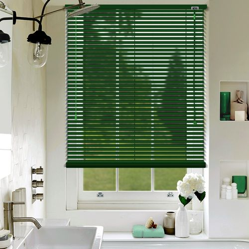 A dark Green matt venetian blind custom made in a 25mm slat size