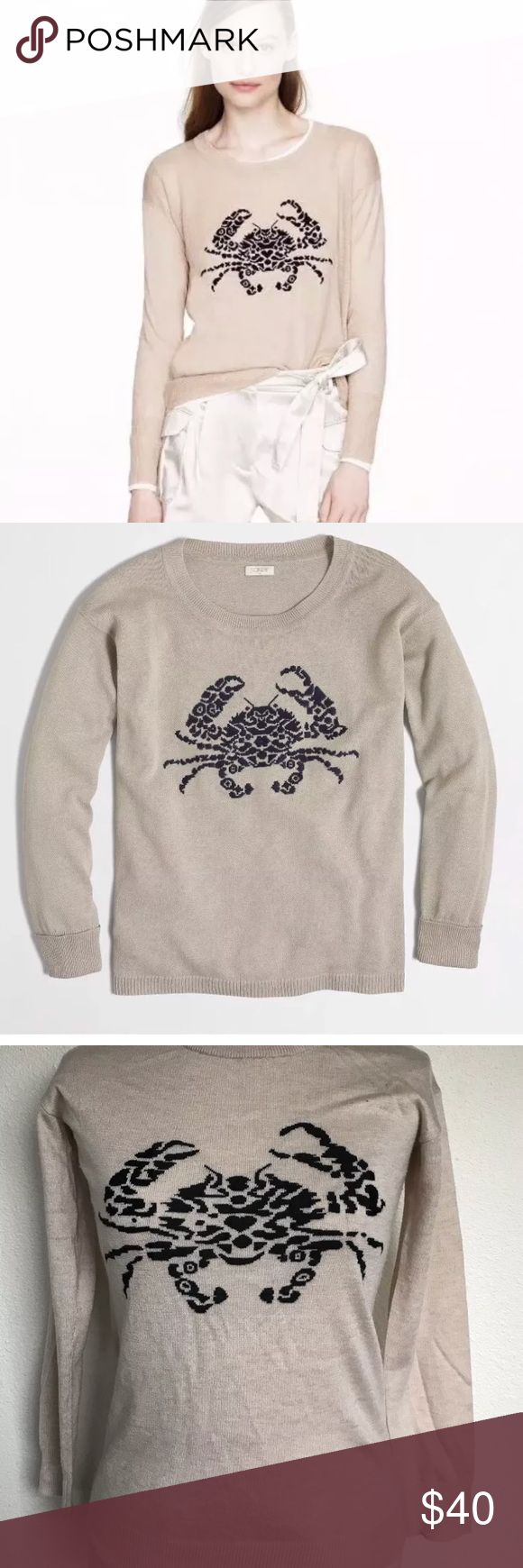 "J.Crew Embroidered Crab Sweater Wool Pullover new without tags women's J Crew crab sweater in size XS  Merino wool  Beige with black crab  Measurements are taken laid  Armpit to armpit across 16.5""  Lenght in the center back 24""   From smoke and pet free home  Thank you for looking J. Crew Tops Sweatshirts & Hoodies"