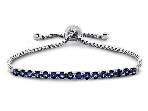 Sterling Silver Slider Chain Adjustable Bracelet with 16 Round Created Sapphire Stones -- Want additional info? Click on the image.
