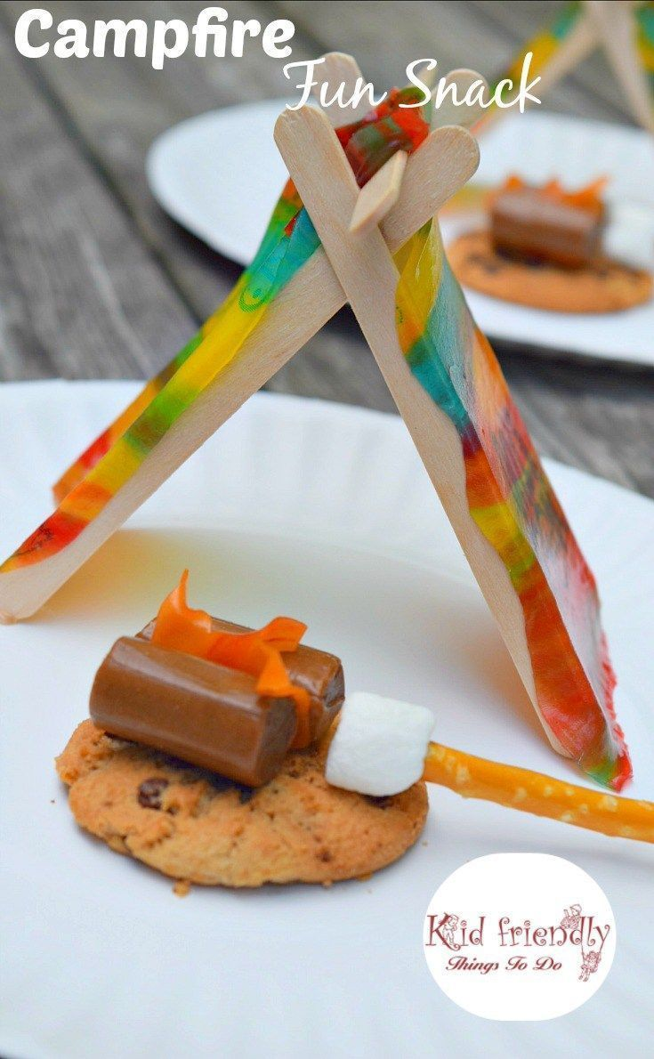 A Tent and Campfire Fun Food Idea for Kids - Perfect No Bake simple treat for camping, summer fun, boy scouts or girl scouts! http://www.kidfriendlythingstodo.com