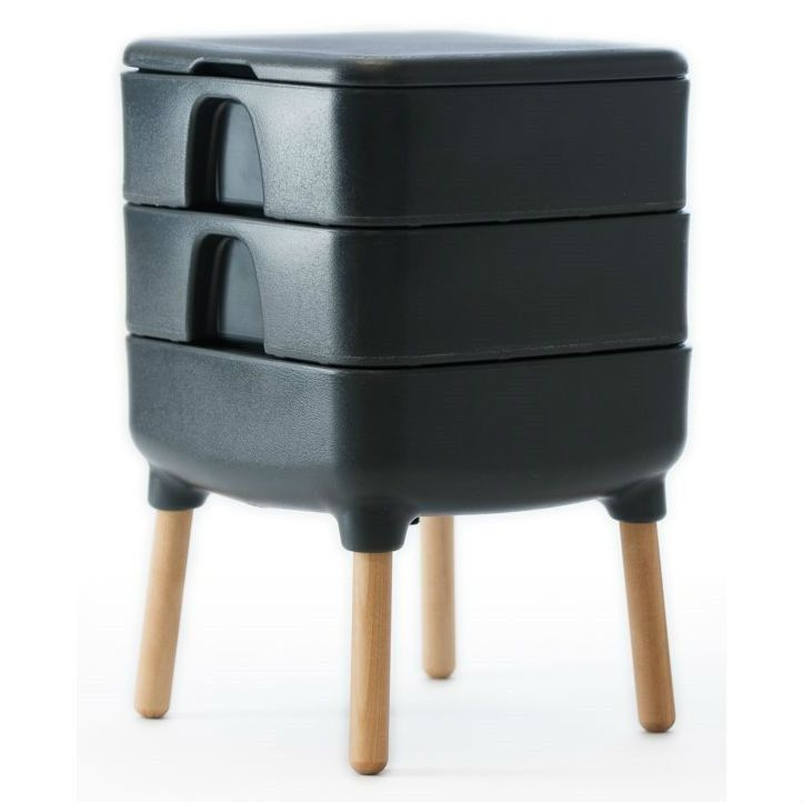 Slate Grey Indoor Worm Composter Mid-Century Style Compost Bin Home Composting