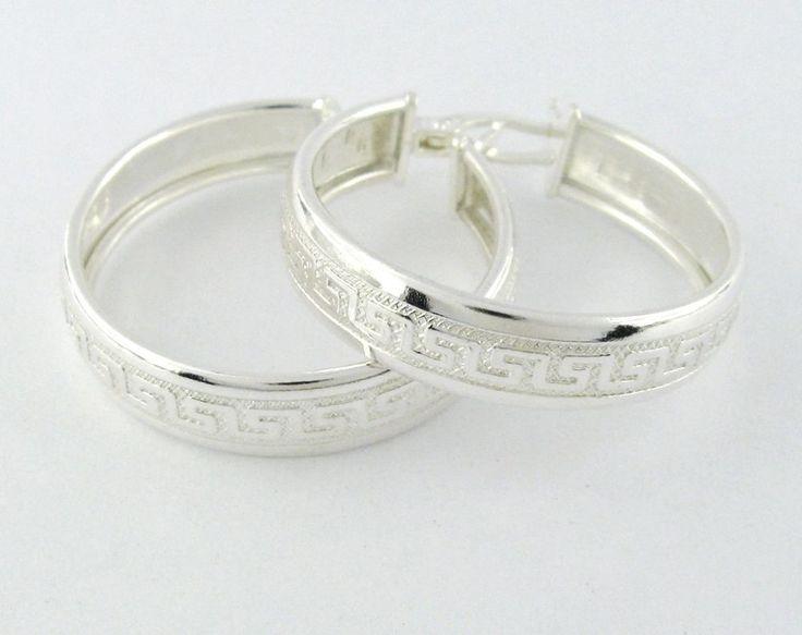 925 Sterling Silver Greek Hoop Earrings #New #Hoop