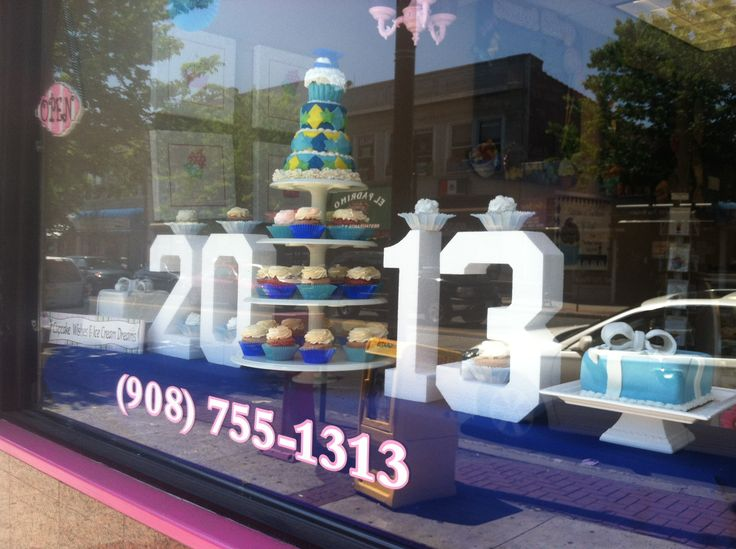 LiVay Sweet Shop Blue 2013 Cupcake Bakery Window Display