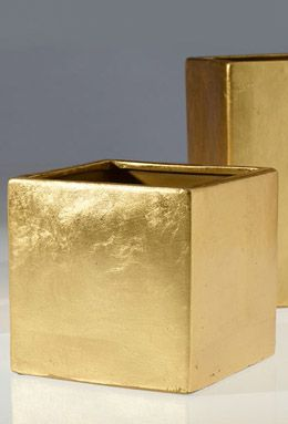 """11.00 SALE PRICE! This 6.5"""" Gold Square Gold Vase can also work as a pot. A stunning way to start off your centerpiece arrangements. Pair with gold merc..."""