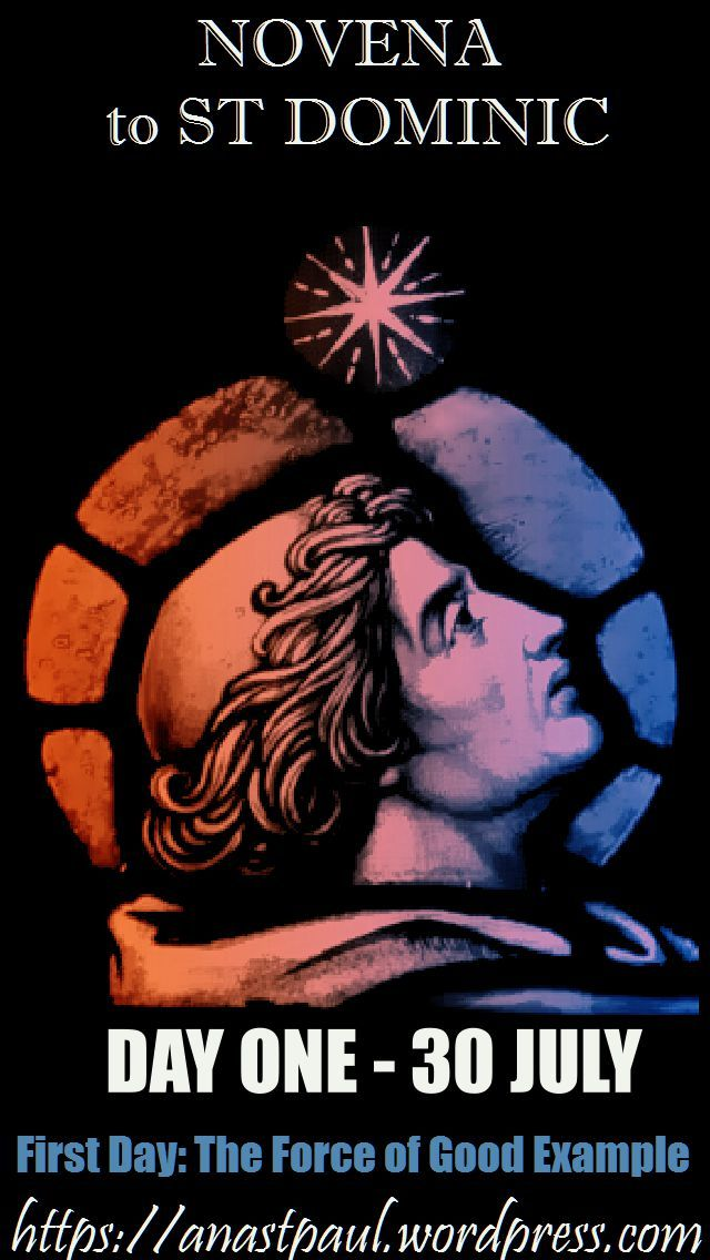 First Day: The Force of Good Example -  He shone in his days as the morning star, in the midst of a cloud and as the moon at the full; and as the sun, when it shines, so did he shine in the temple of God. (Sirach 50:6,7)…. LET US PRAY: O most enlightened teacher of divine  truth, Holy father St. Dominic,... help us to close our ears and hearts to all false doctrine and whatever may be harmful to our souls and to open them joyfully to the truths of Holy Church.... ~ AnaStpaul