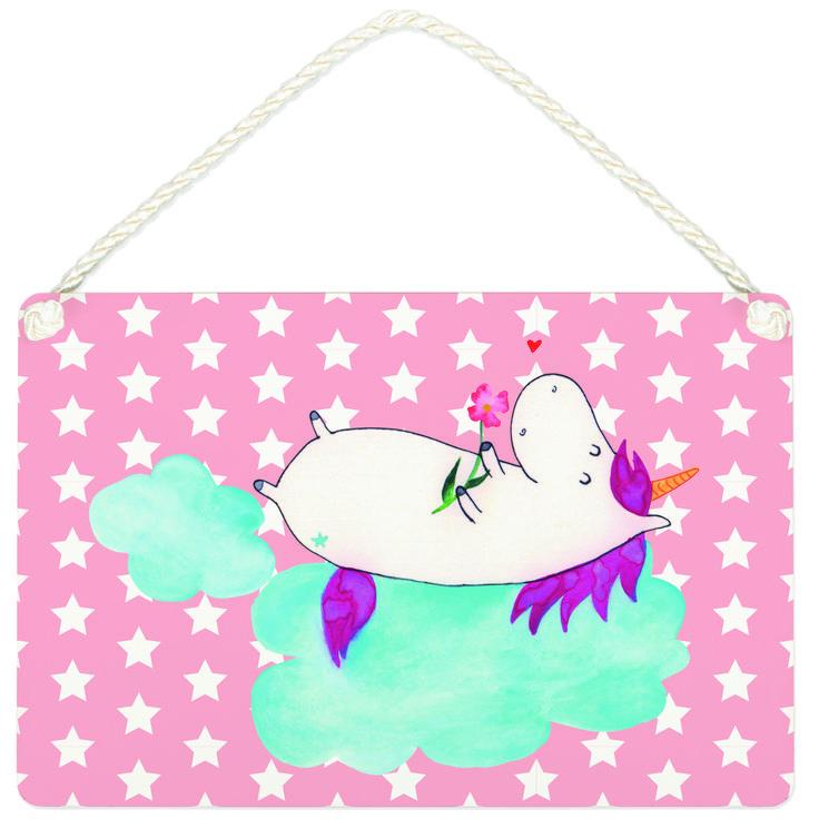 Deko Schild Einhorn verliebt auf Wolke aus MDF  Weiß - Das Original von Mr. & Mrs. Panda.  Ein wunderschönes Schild aus der Manufaktur von Mr. & Mrs. Panda - die Schilder werden von uns direkt nach der Bestellung liebevoll bedruckt und mit einer wunderschönen Kordel zum Aufhängen versehen.    Über unser Motiv Einhorn verliebt auf Wolke  Das verliebte Einhorn ist der beste Begleiter für jeden Single. Was will man denn mit einem Partner, wenn man ein Einhorn haben kann. Das perfekte Geschenk…