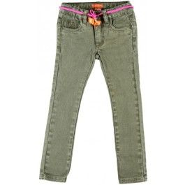 Kaki jeansbroekje met fluoroze accenten - Kidz-art