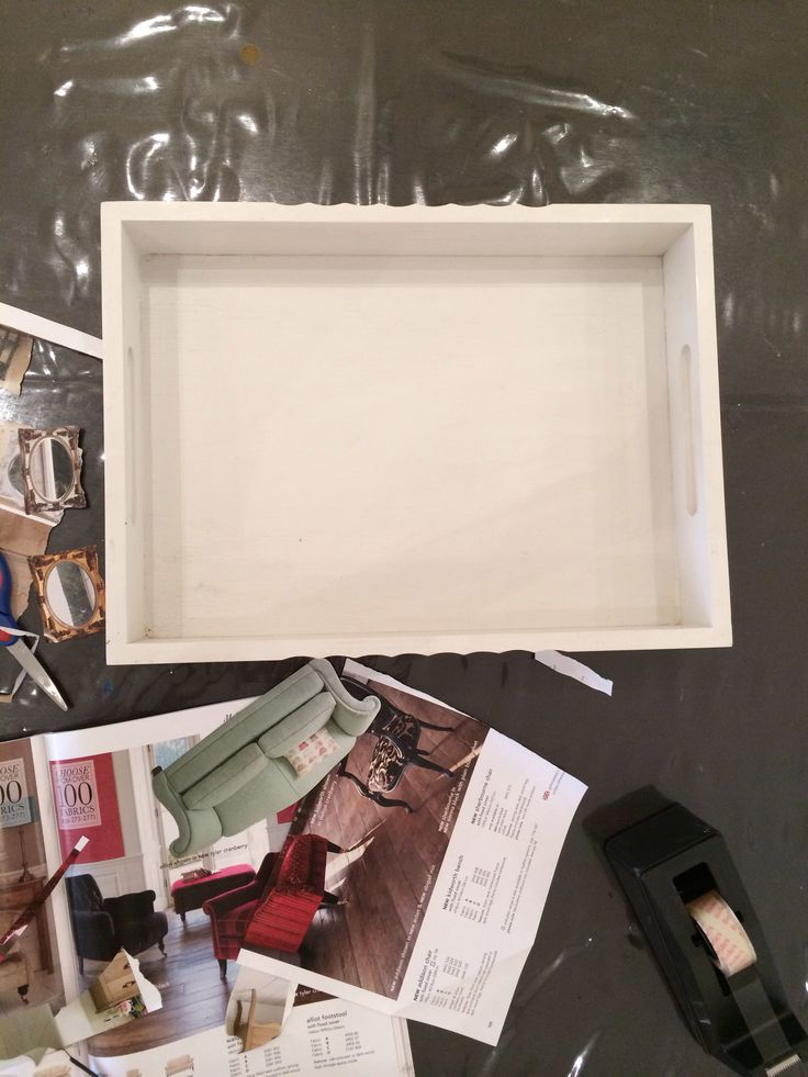 What u will need :  Wooden tray  Any home of fashion magazine mine is Laura Ashley Gesso primer  Paint  Mod podge Varnish glossy finish  Brush