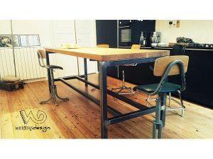 Table haute industrielle et vintage