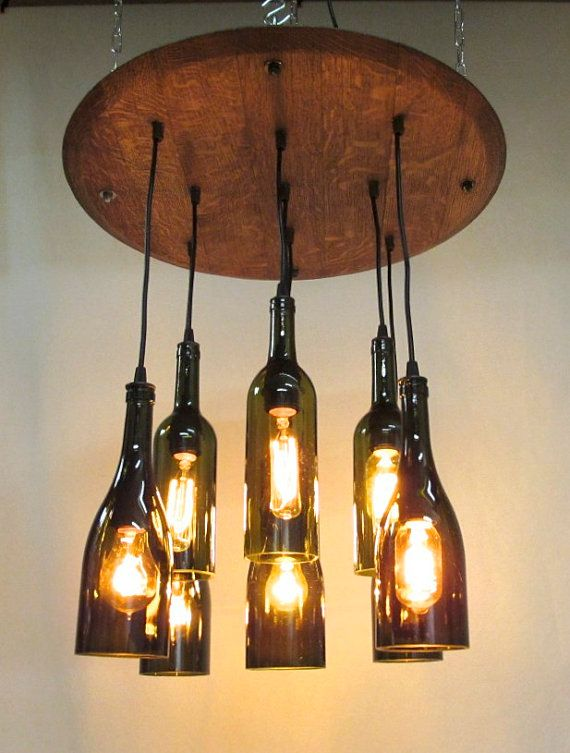 321 best wine inspired home garden decor images on pinterest whiskey barrels wine barrels - Wine bottle light fixtures ...