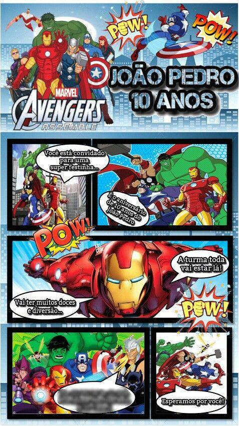 Convite revista em quadrinhos dos vingadores