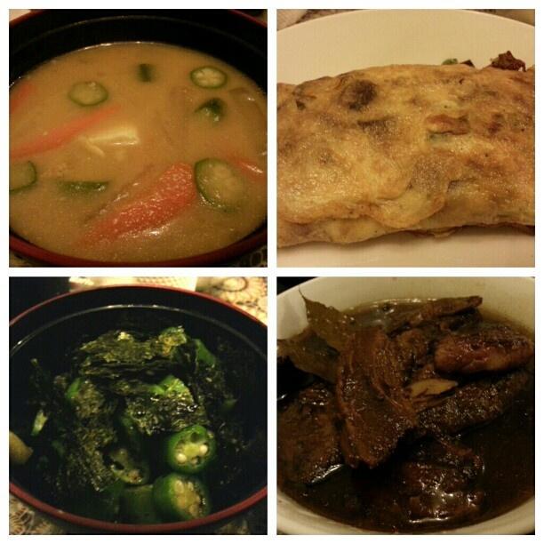#晩ご飯 #豚汁 #オクラ #野菜 #オムレツ #ポーク #アドボ #tonjiru #vegetable #omelette #okura #wasabi #nori #pork #adobo for #dinner #japanese #filipino #food #philippines #フィリピン