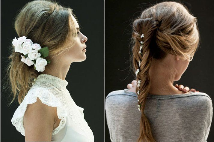 (Right) Fishtail braid with gorgeous mini-flowers to accent the look.
