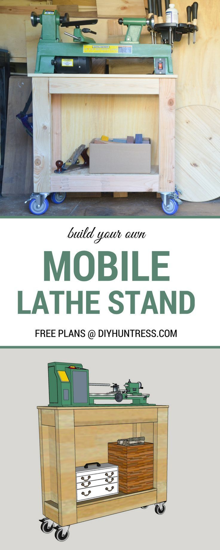 DIY Woodworking Ideas Free Woodworking Plans - Build a Mobile Lathe Stand!