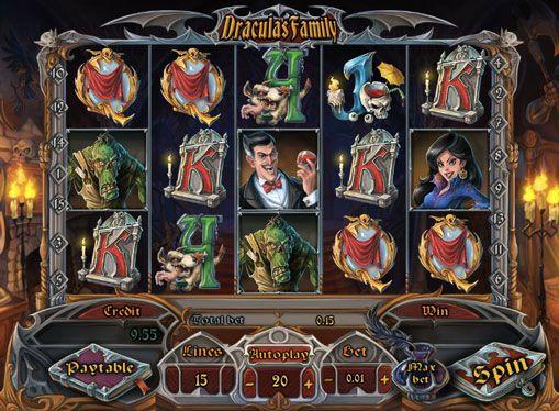 Слот машина Dracula`s Family за пари. Слот машина Dracula`s Family, разработен от Playson, привлекателни за игра с истински пари, за да допълнителната им режим. Слот включва само 4 различни опции frispinov, докато самият играч ще може да избере кой тип на въртене план.   Символи онлайн с�