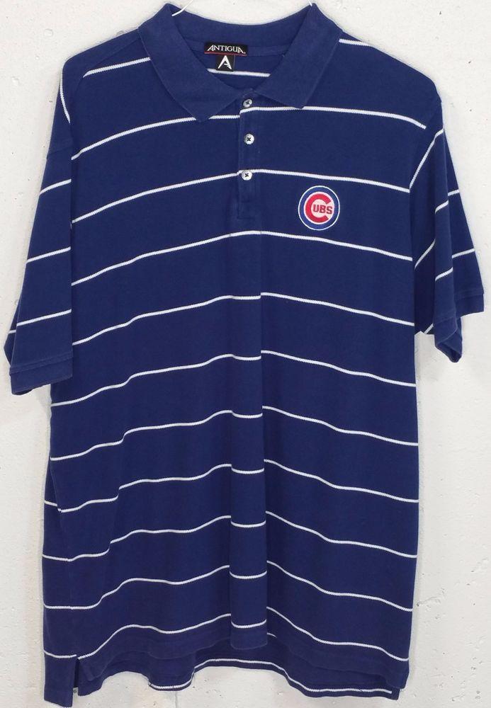 Antigua Mens Blue Striped 100% Cotton Chicago Cubs Short Sleeve Polo Shirt XL #Antigua #PoloRugby
