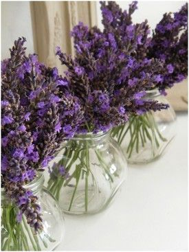 Lovely vases to decorate a party table - if you don't add water the lavender will dry just as you have arranged it.