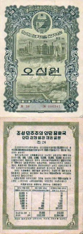 50 Won Korea/North's Banknote