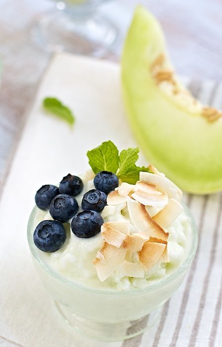 Honeydew Sherbet-Ice Milk ~ with fresh blueberries. Healthy, diet ice cream recipe.