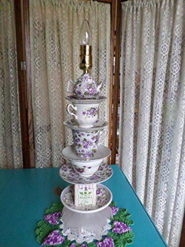 Vintage purple floral accent teacup/teapot lamp.