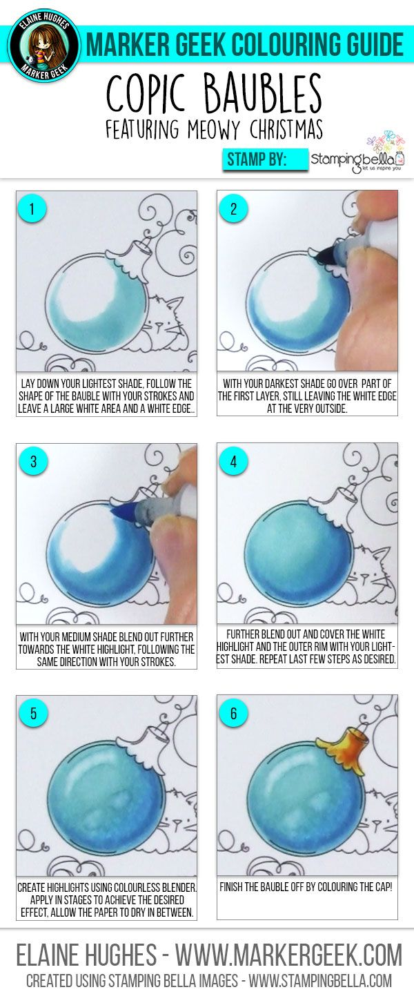 Marker Geek: Copic Colouring Christmas Baubles. Click through for the step by step, colouring video and tips!