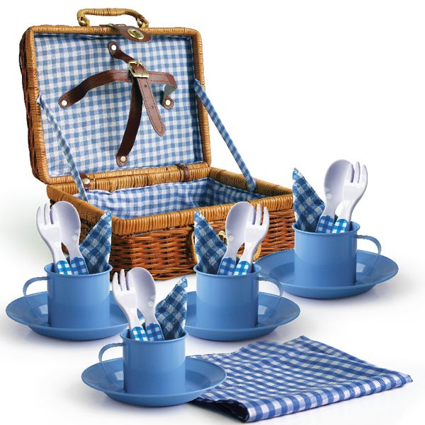Child S Picnic Set With Wicker Basket Children Play