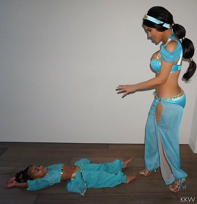 Princess Jasmine and her mini me!!!!! @robkardashian shared all the pics from our family Halloween on @kimkardashian's app and KimKardashianWest.com #family #love #mybeauties