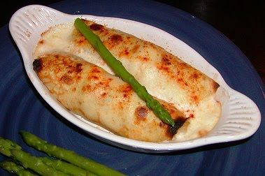 Seafood crepes with herb mornay sauce. Sounds delish!
