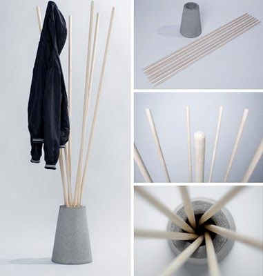 Straightforward coat rack by Vytautas Gecas is made of painted wood dowels that are functional and decorative when and when not in use!