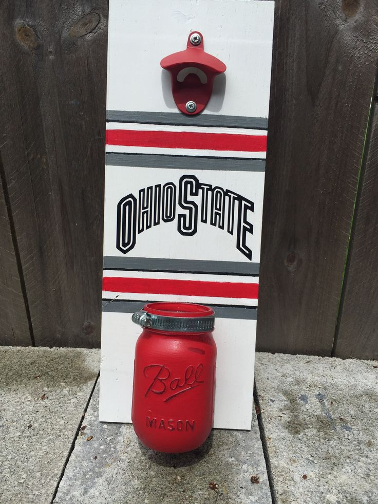 DIY Ohio State Buckeyes wall mounted bottle opener with mason jar cap catcher…