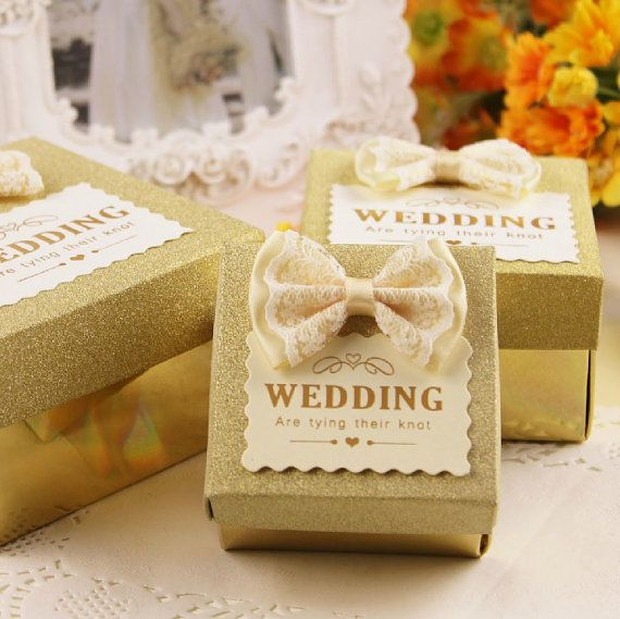 50 pcs Gold Wedding Candy Box  with ivory Lace by sweetywedding, $40.00