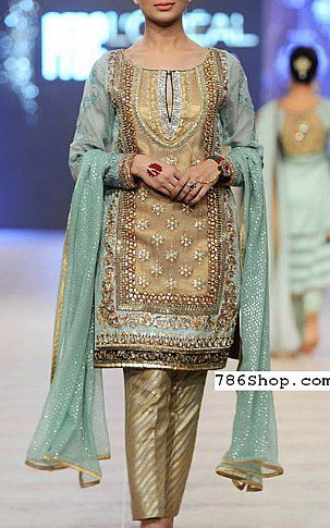 Beige/Turquoise Crinkle Chiffon Suit | Buy Pakistani Fashion Dresses and Clothing Online in USA, UK
