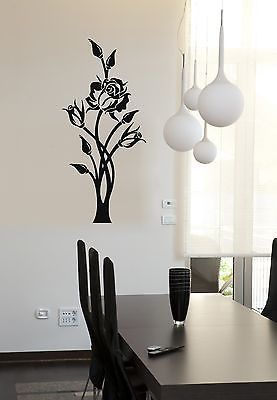 Vinyl Decal Beautiful Rose Flower Pattern Wall Sticker Plant Home Decor Ornament Style (ig672)