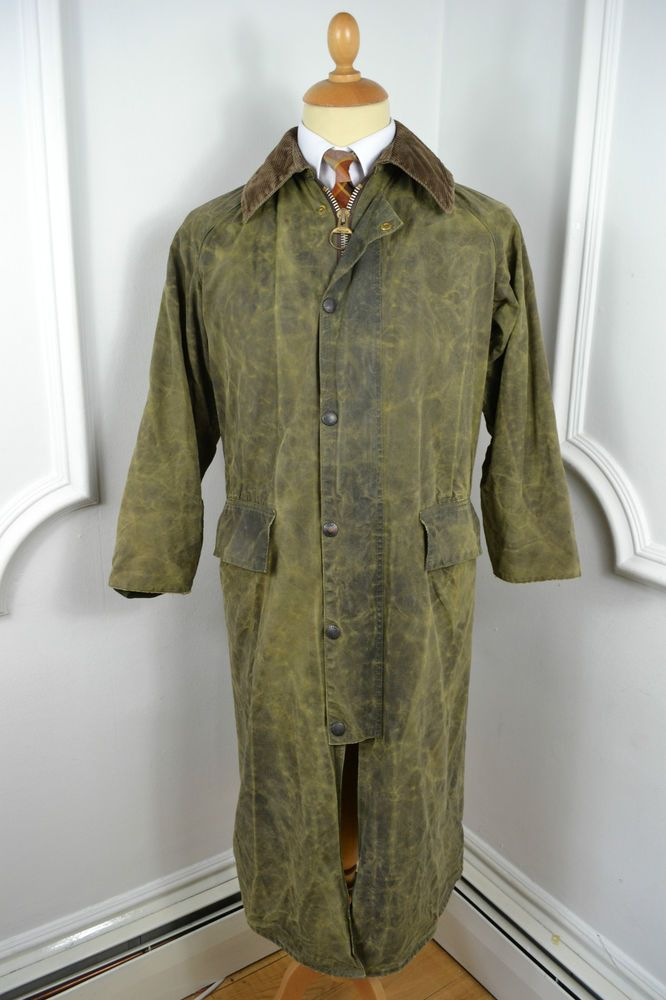 VINTAGE BARBOUR BURGHLEY UK MADE WAXED COTTON RAINCOAT COAT SMALL 36 REGULAR   Vintage Overcoats