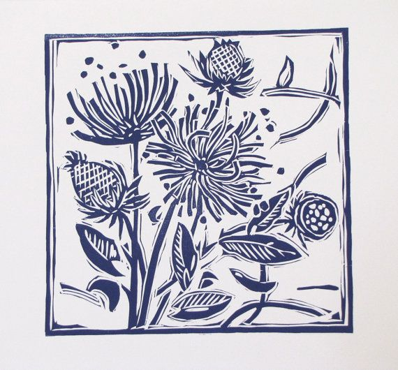 Lino Cut  Print in midnight blue English Country Garden