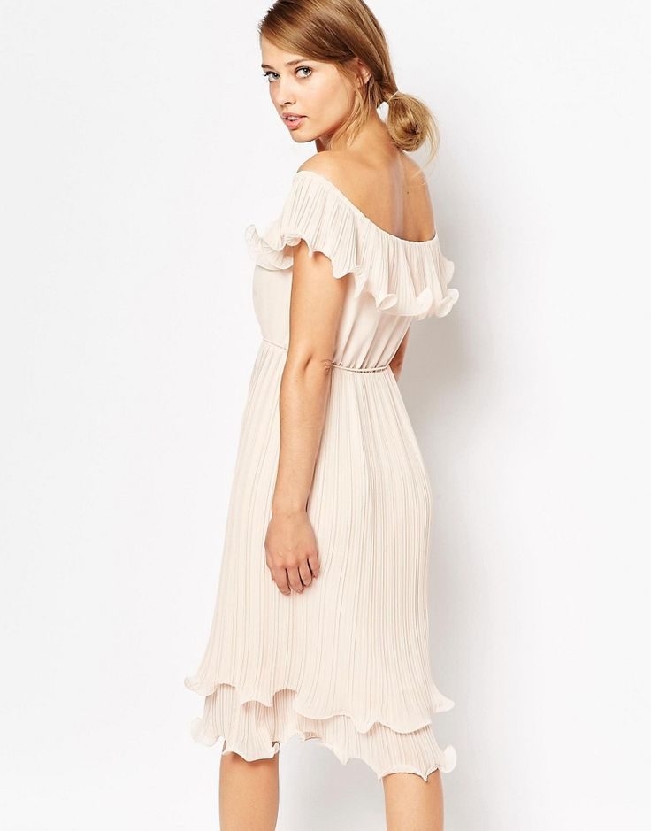 Oasis Pleated Ruffle Bardot Midi Dress - Pink