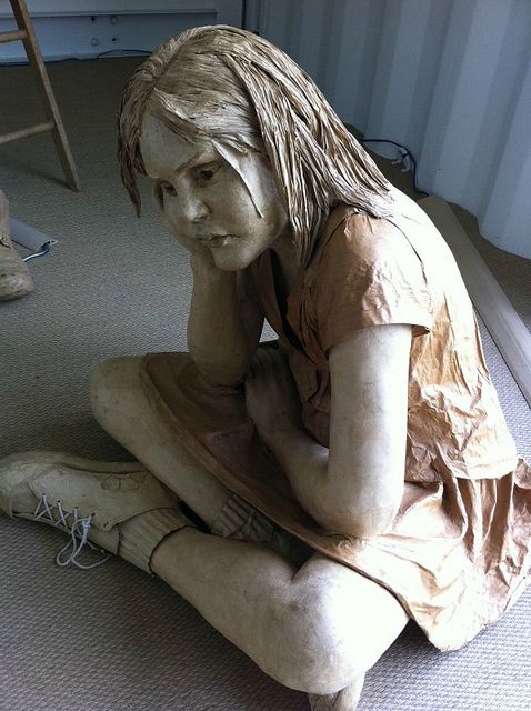 Absolutely Fantastic sculptures made by Emma Hardy out of brown paper and packaging tape!