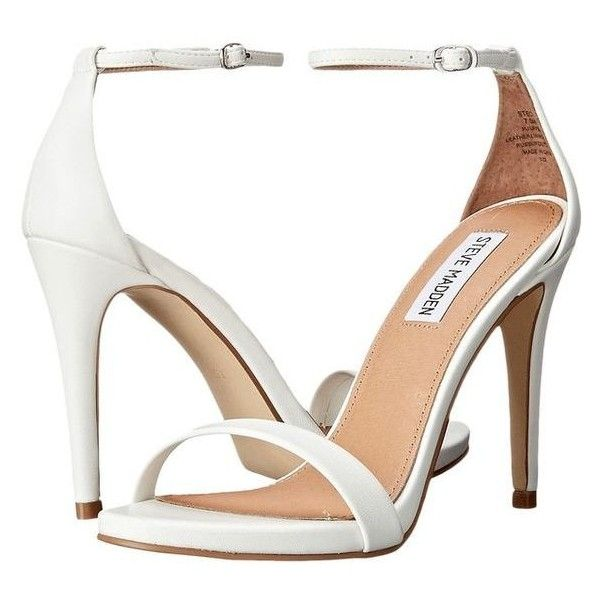 Steve Madden Stecy (White) High Heels ❤ liked on Polyvore featuring shoes, sandals, steve madden shoes, white strappy sandals, ankle strap sandals, ankle strap high heel sandals and steve madden sandals